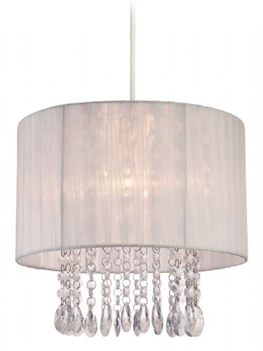 Firstlight 8634WH White Shade with Clear Acrylic Organza Easy-Fit Pendant